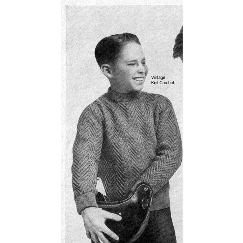 Boys Herringbone Pullover Knitting Pattern