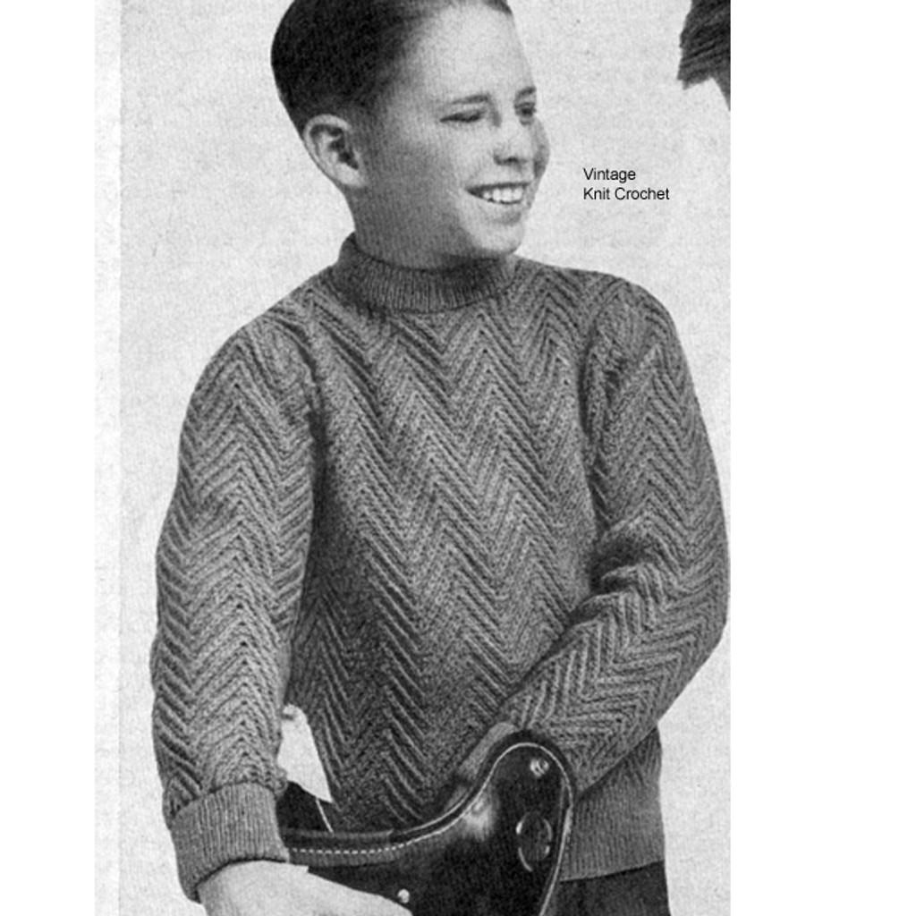 Vintage Knitted Boys Pullover Pattern, Herringbone motif