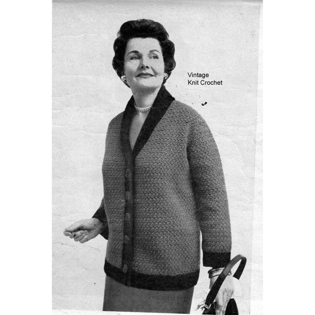 Plus Size Crocheted Jacket Pattern, Vintage 1950s