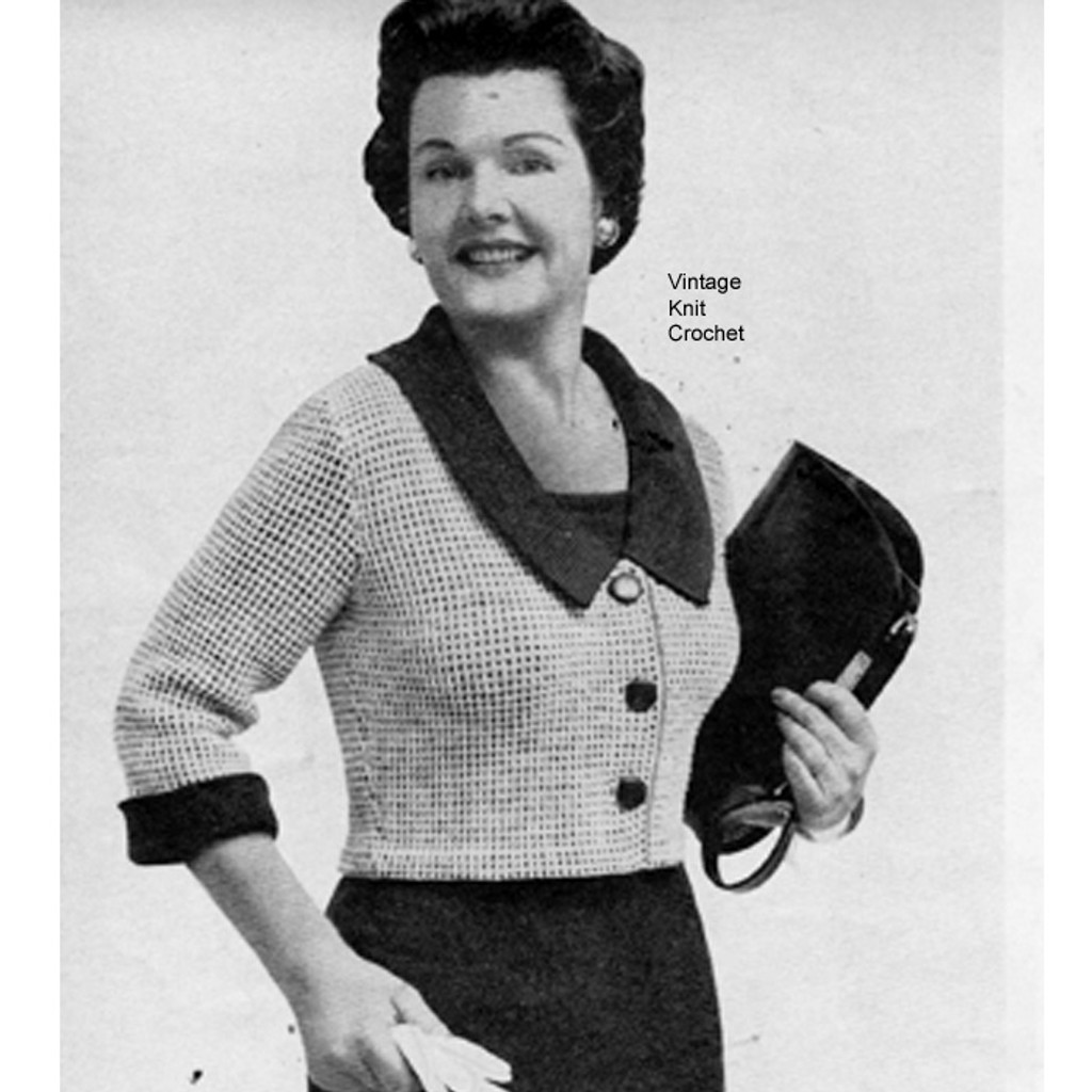 Knitted Cropped Jacket Pattern, Checked Stitch and Collor