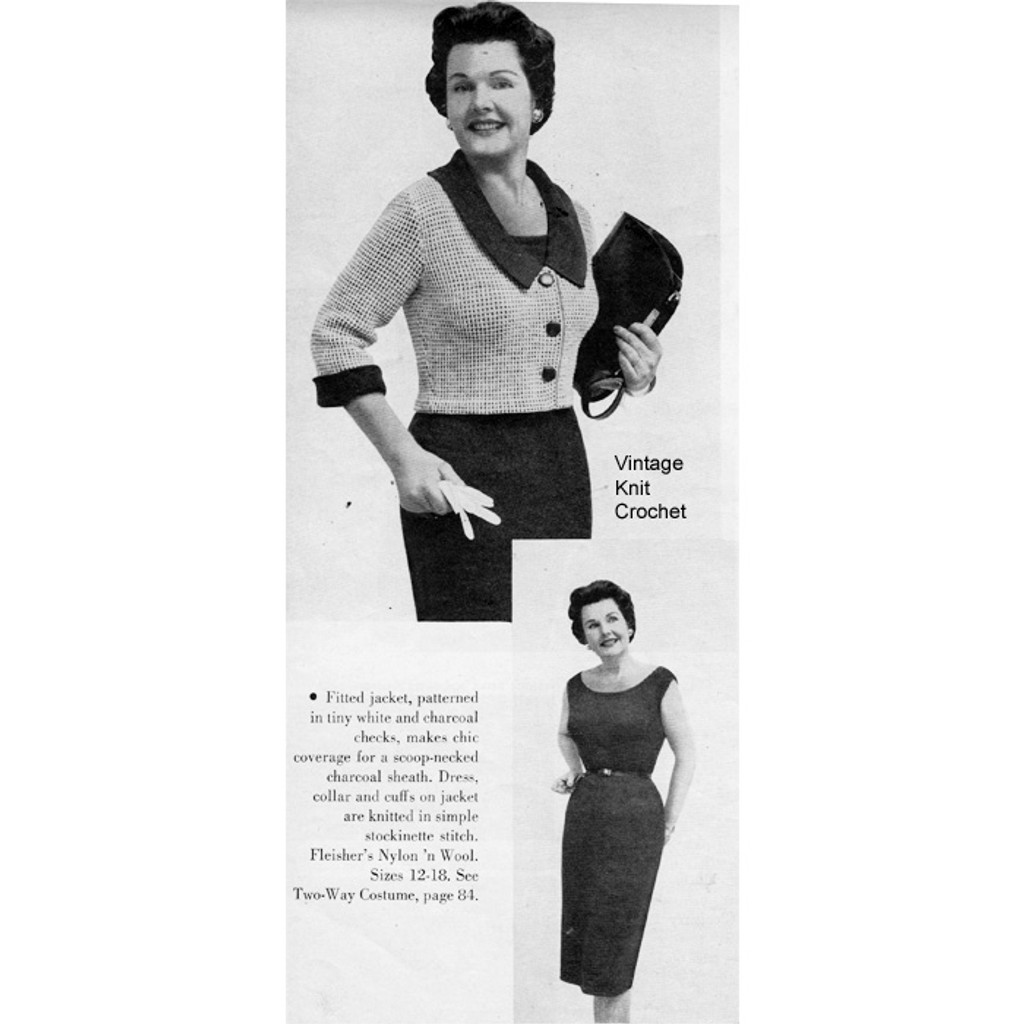 Vintage  Knitted Two Piece Dress Pattern, short Jacket