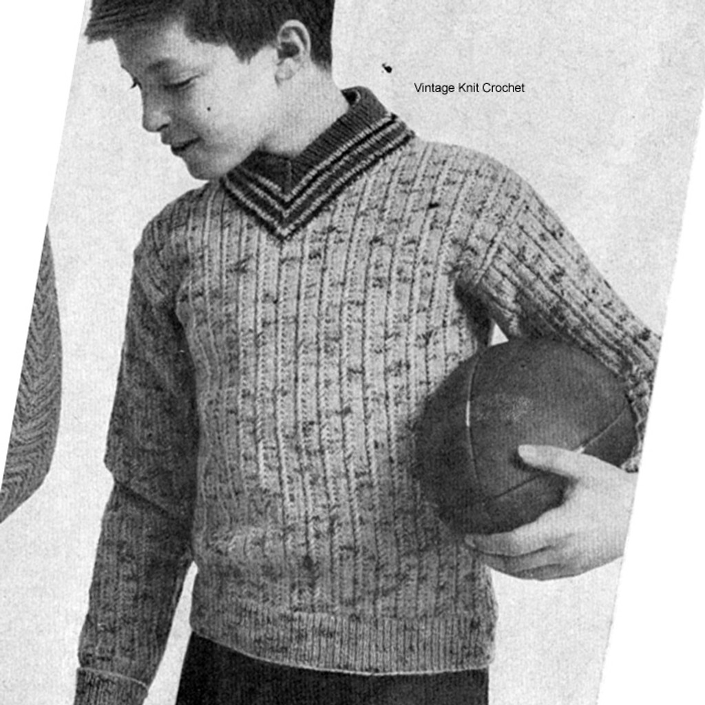 Knitted Boys Cable Sweater Pattern, Size 8, 10, 12