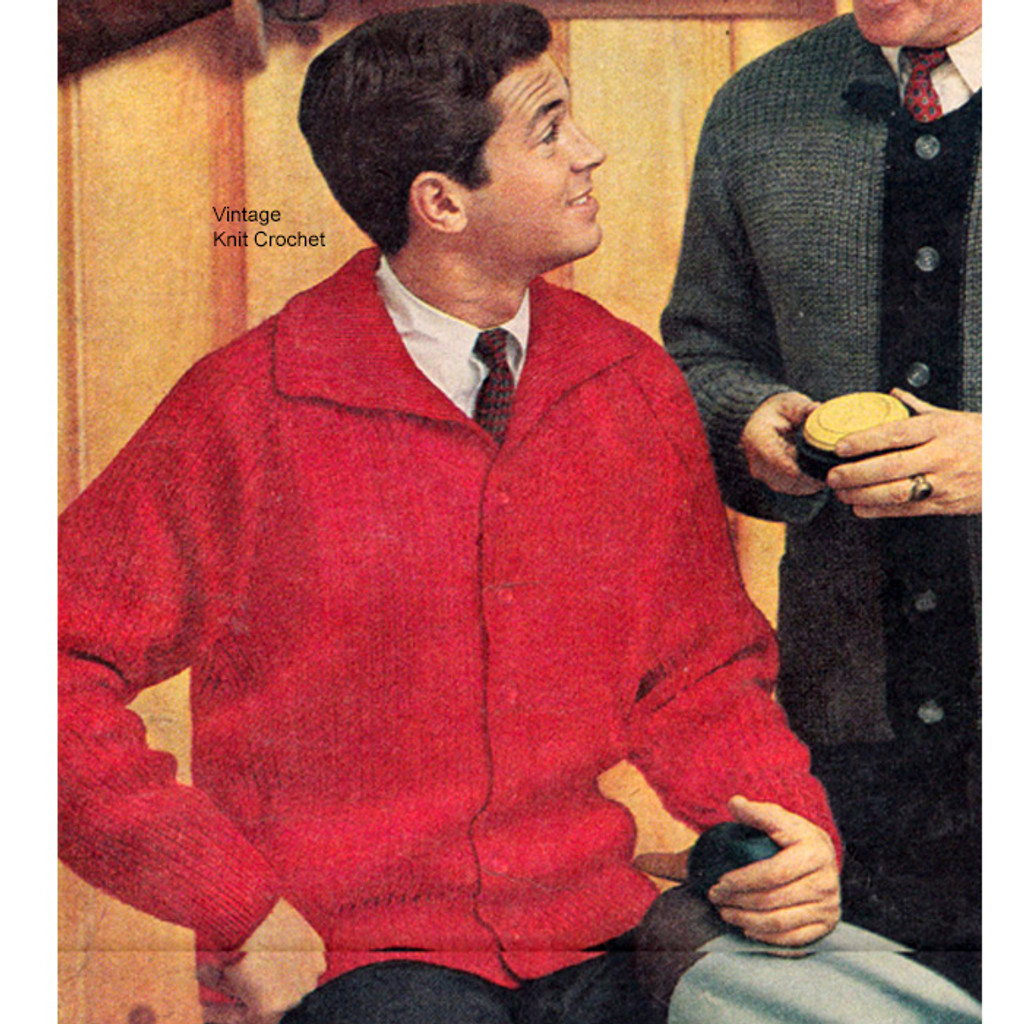 Knitted Mans Raglan Jacket Pattern