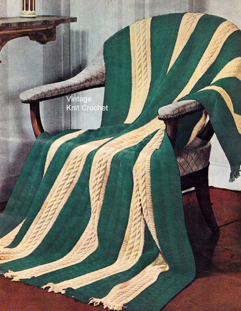 Knitted Cable Afghan Pattern No 4501
