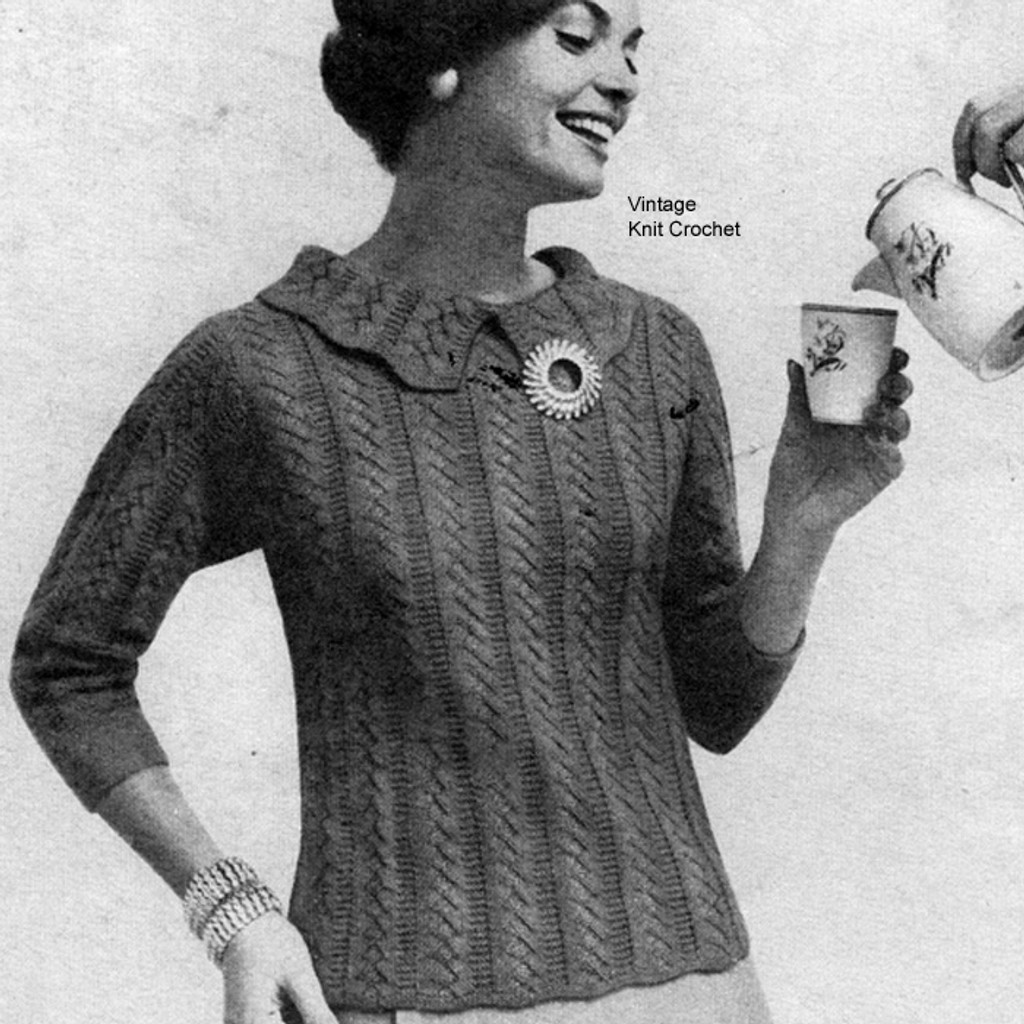 Knitted Collared Blouse Pattern, Herringbone
