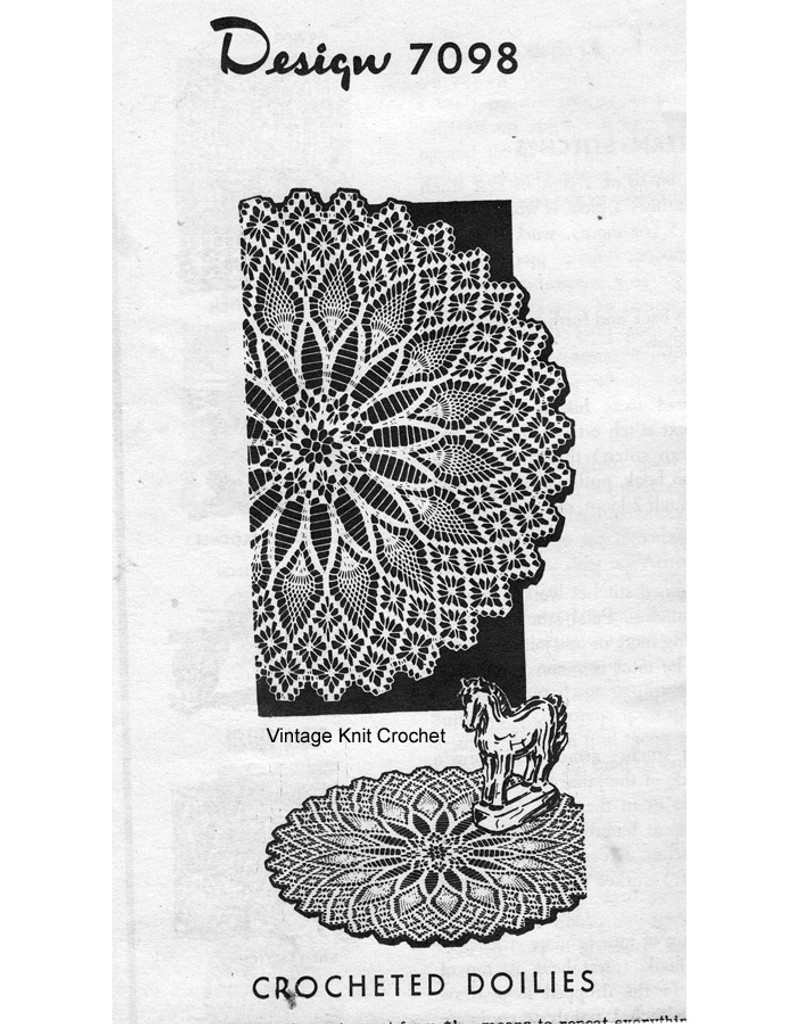 Large Pineapple Crochet Doily Pattern Design 7098,