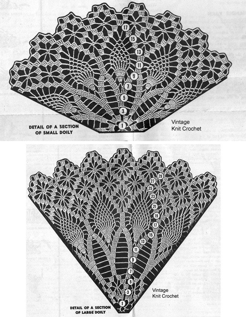 Crochet Pattern Stitch Illustration for  pineapple doilies