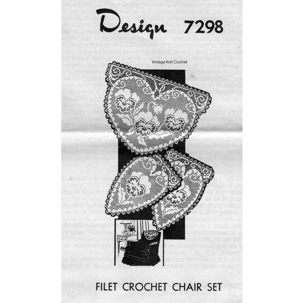 Filet Crochet Valentine Chair Doily Set, Mail Order 7298