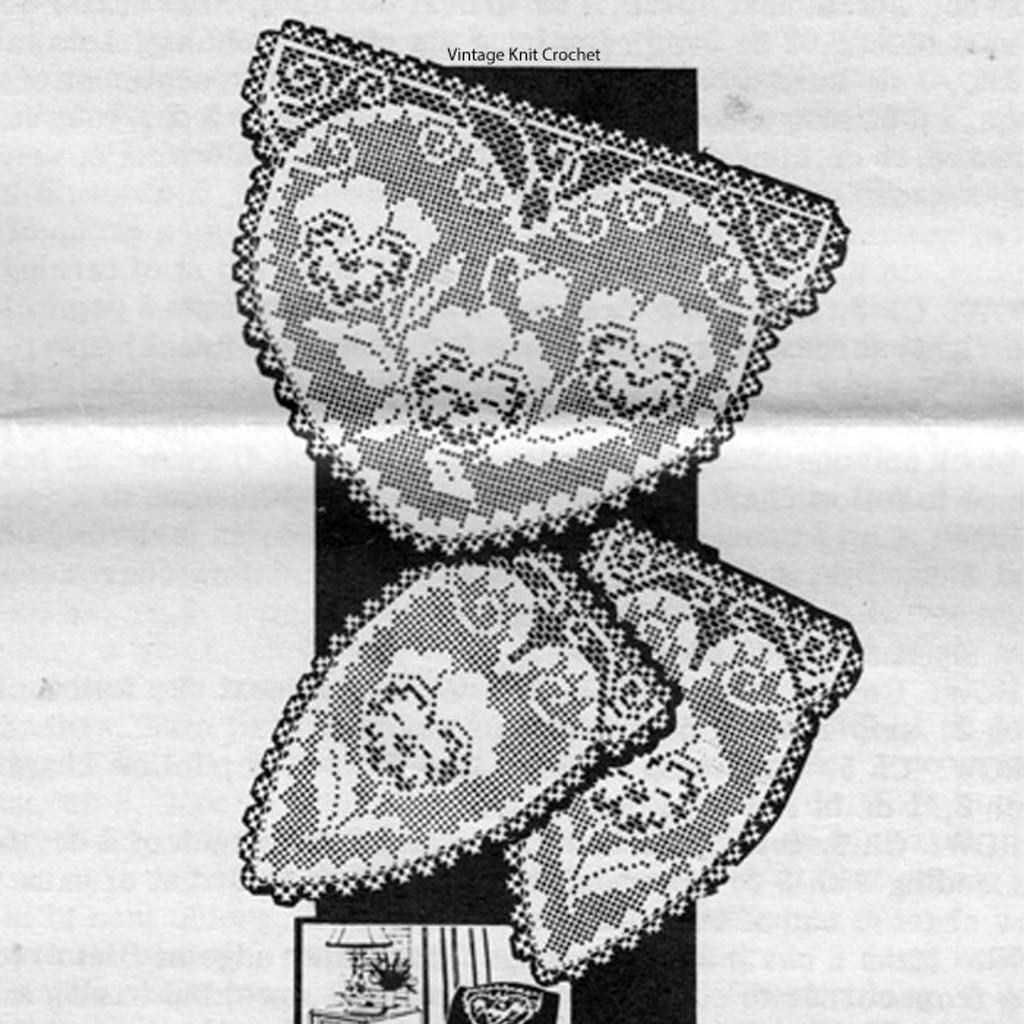 Mail Order Filet Crochet Pansy Doily Pattern Set, Design 7298