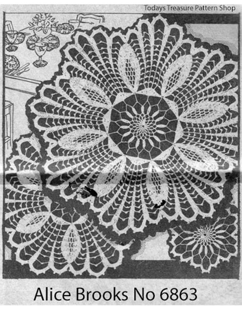 Vintage Crochet Pineapple Flower Doily Pattern, Mail Order 6863