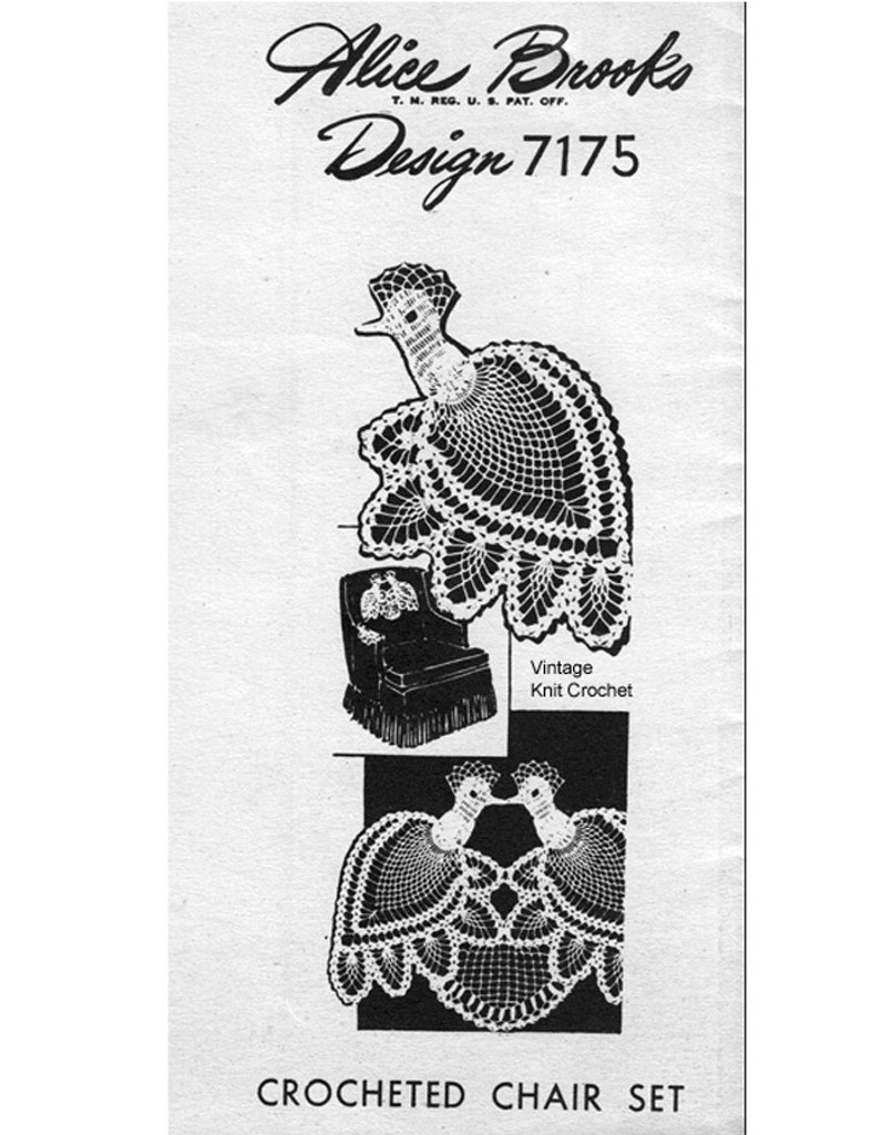 Peacock Crochet Chair Set Pattern, Mail Order 7175