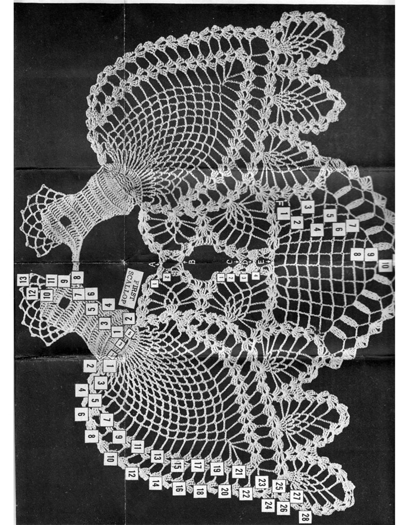 Crochet Peacock pattern stitch illustration
