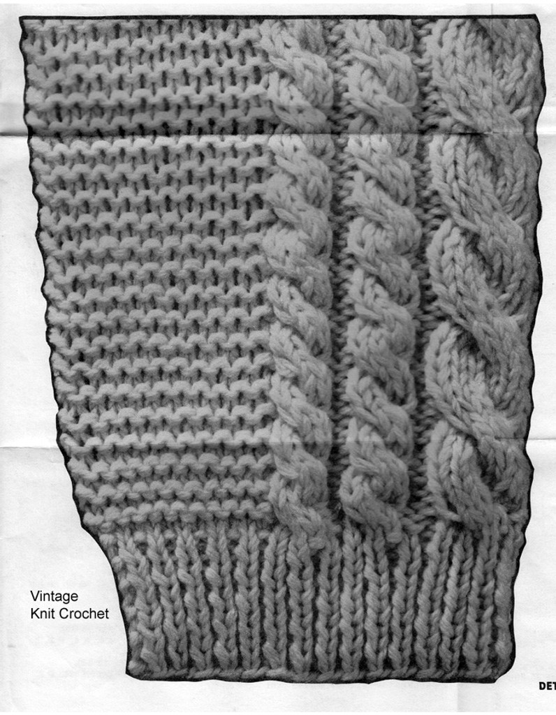Knitted cable jacket pattern stitch illustration