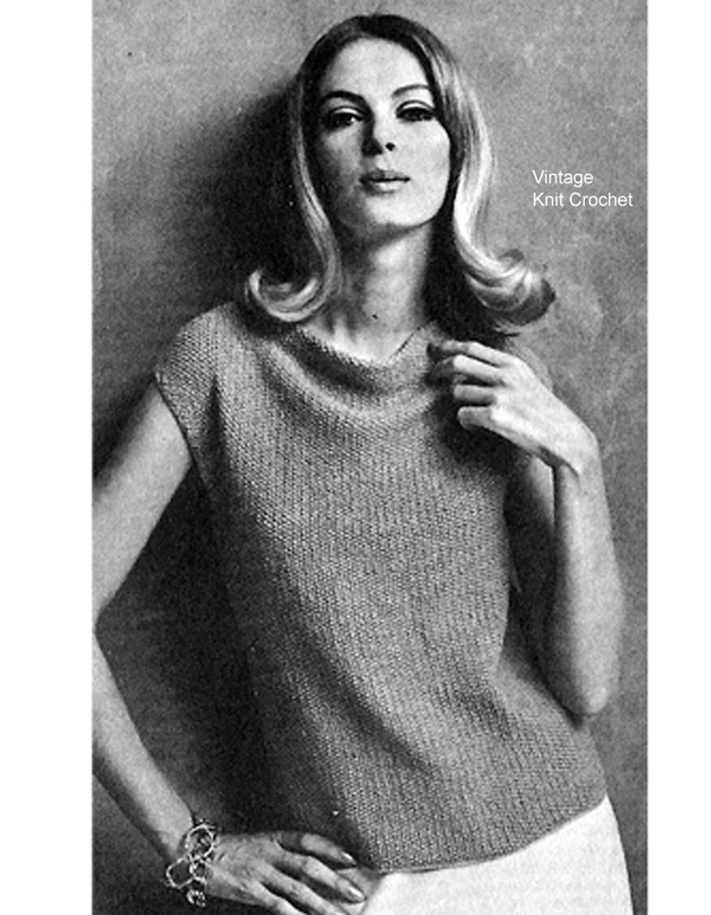 Knitted Cowl Top Pattern in Seed Stitch