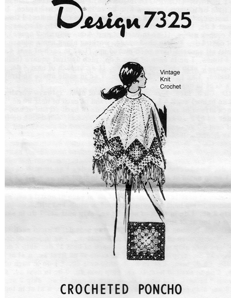 Crochet Poncho Pattern, Granny Squares, Mail Order 7325