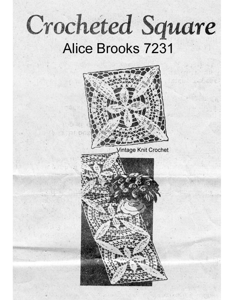 Crochet Lacy Square Pattern Mail Order 7231