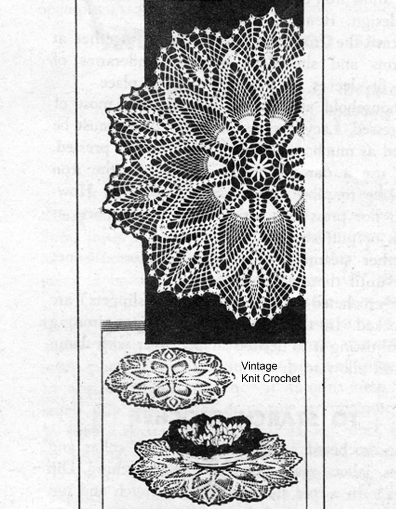 Pineapple Centerpiece Crochet Doily Pattern, Mail Order 7328