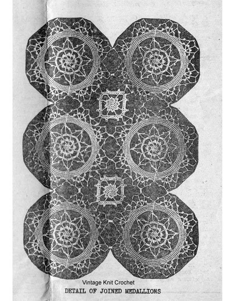 Vintage Crochet Medallion Runner Pattern, Mail Order 1676