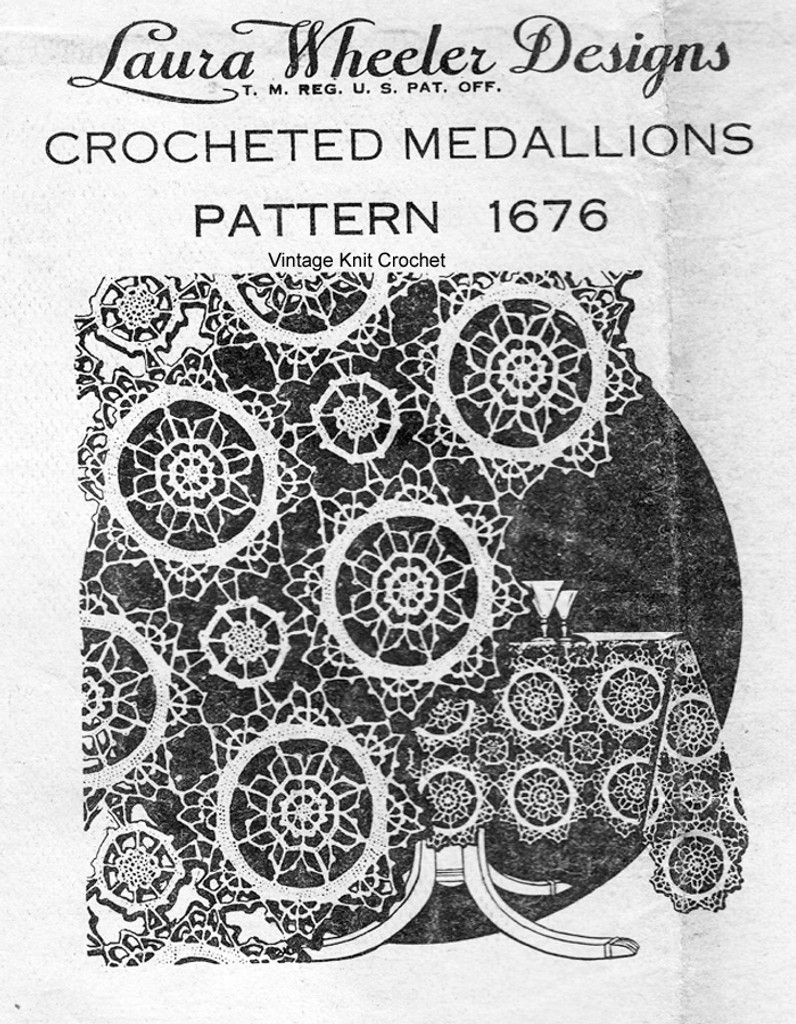 Crocheted Medallion Tablecloth pattern, Laura wheeler 1676