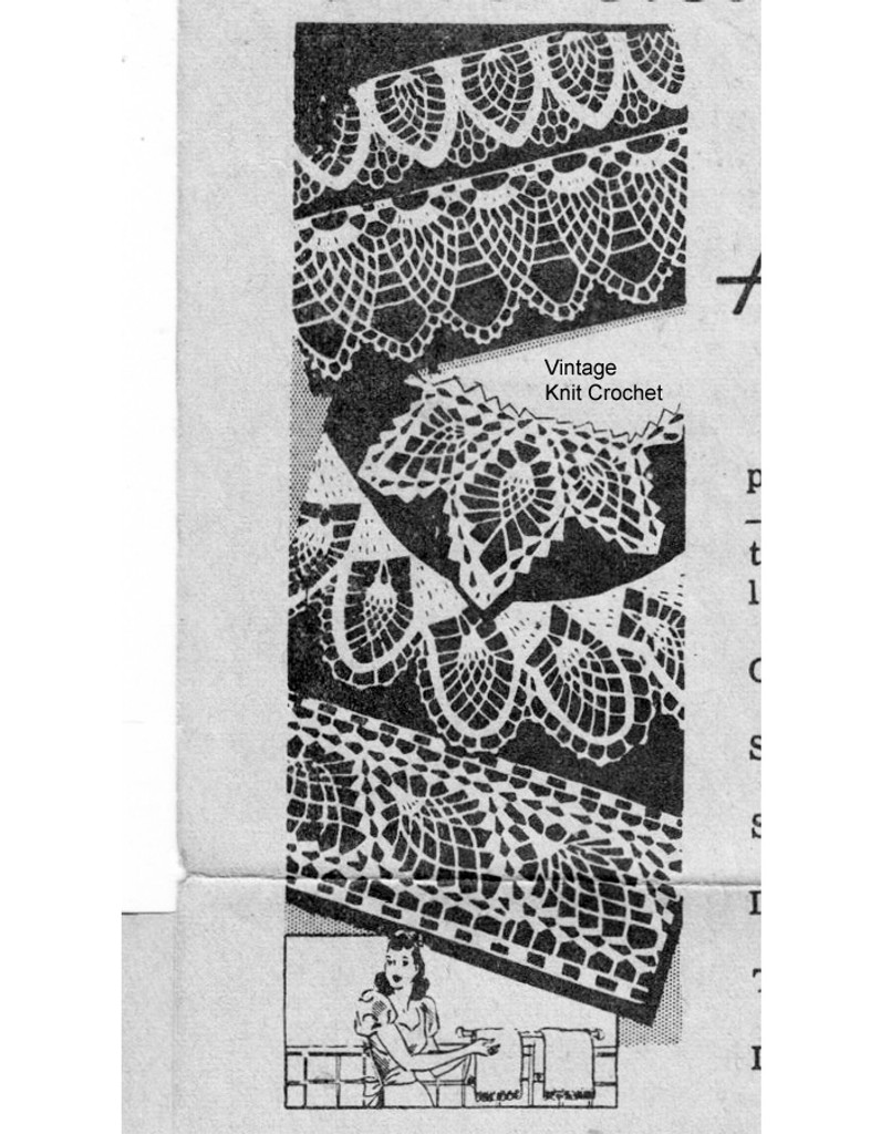 Vintage pineapple Edgings Crochet Pattern, Design 7263