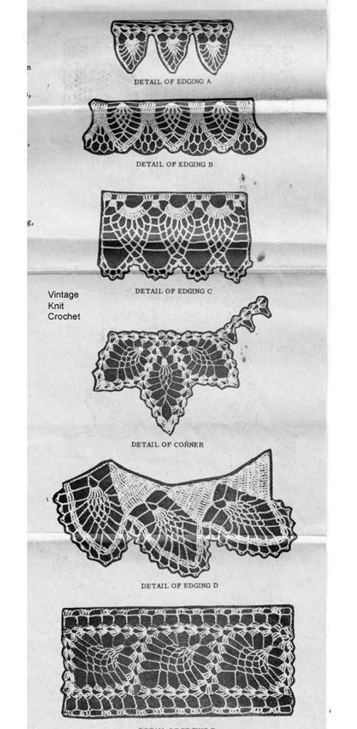 Crochet Edgings Pattern, Pineapple Stitch, Alice Brooks 7263