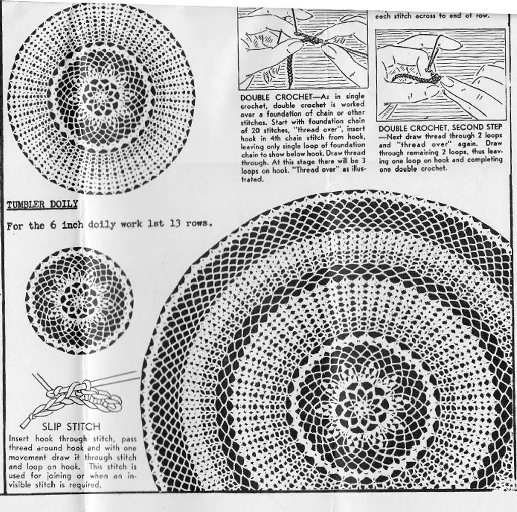 Crochet Three in One Doily Set Pattern, Anne Cabot 5582