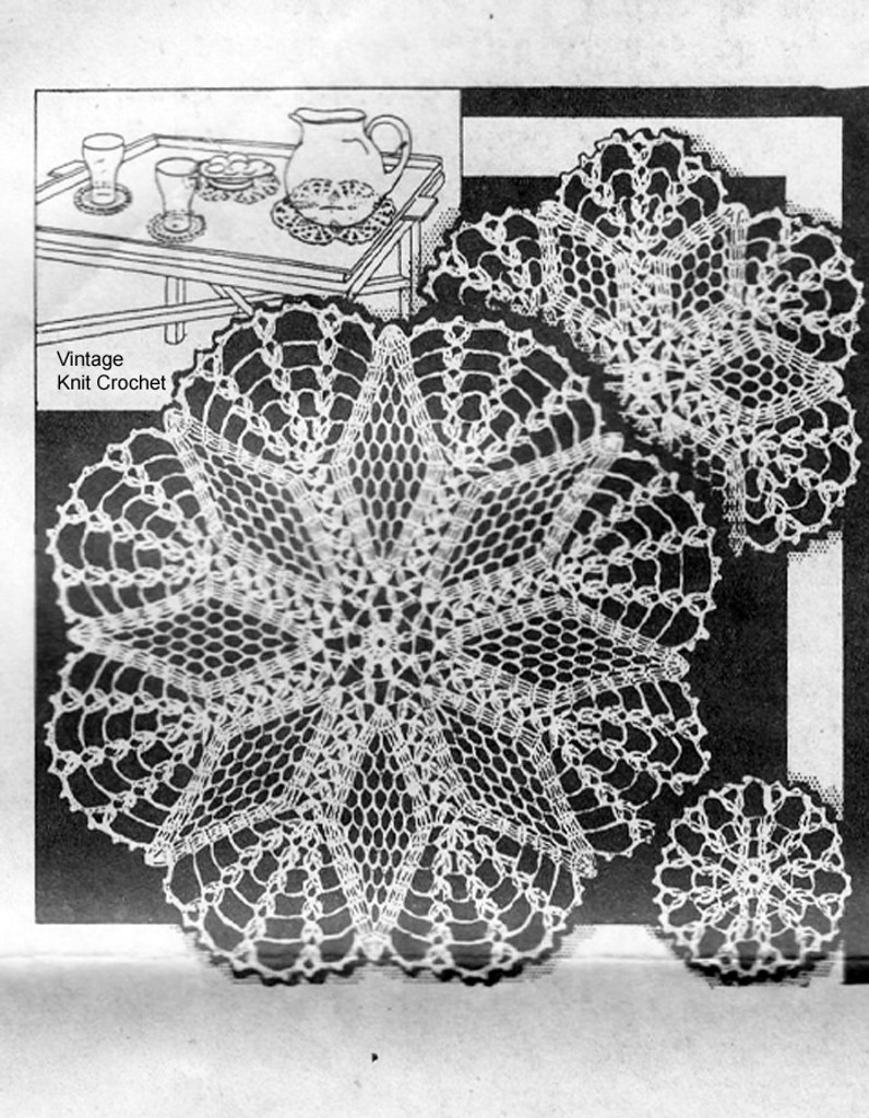 Vintage 1930s Crochet Star Doily Pattern, Alice Brooks 6114