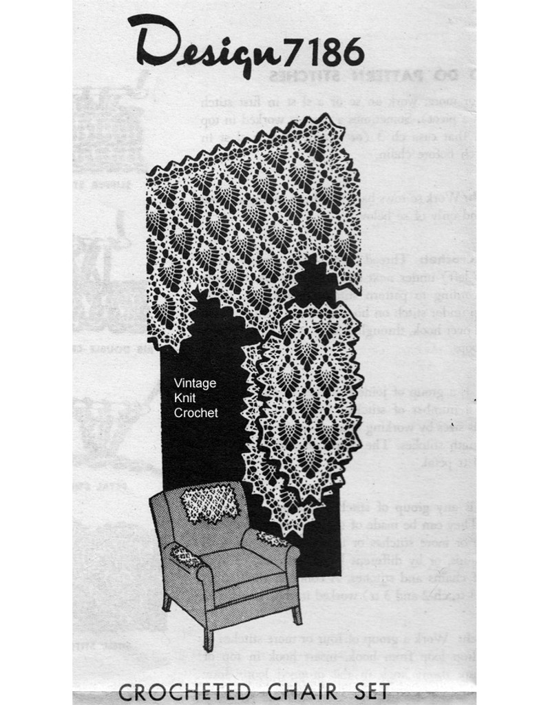Crochet Pineapple Chair Doily Pattern, Mail Order 7186
