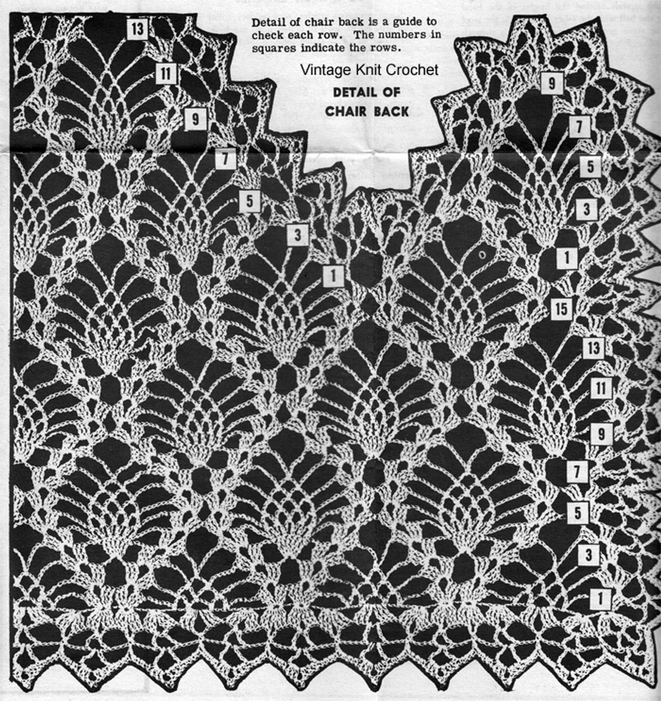 Crochet pattern illustration for pineapple chair doily pattern Design 7186