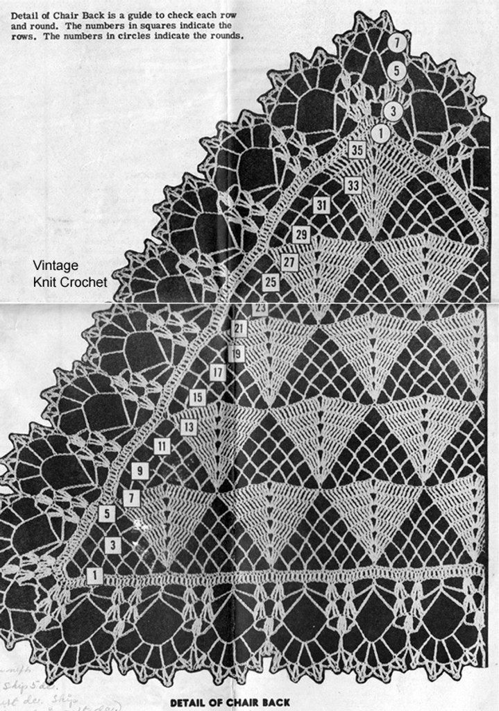 Crochet Pattern Stitch illustration for triangle doily pattern