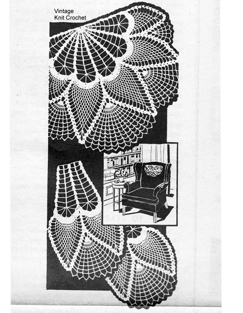 Pineapple Fan Crochet Chair Doily Pattern, Mail Order 7259