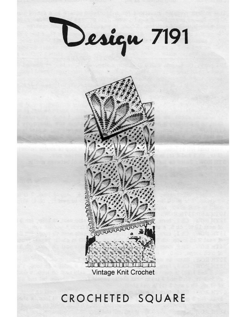 Crocheted Fan Square Bedspread pattern, mail order 7191