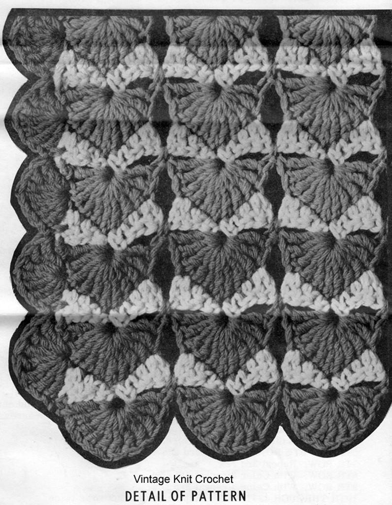 Crochet Shell Afghan Pattern Stitch Illustration