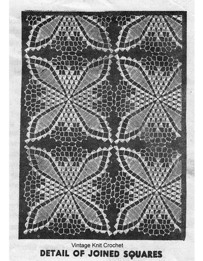 Crochet Tablecloth Pattern Illustration of Square, Alice Brooks 7381