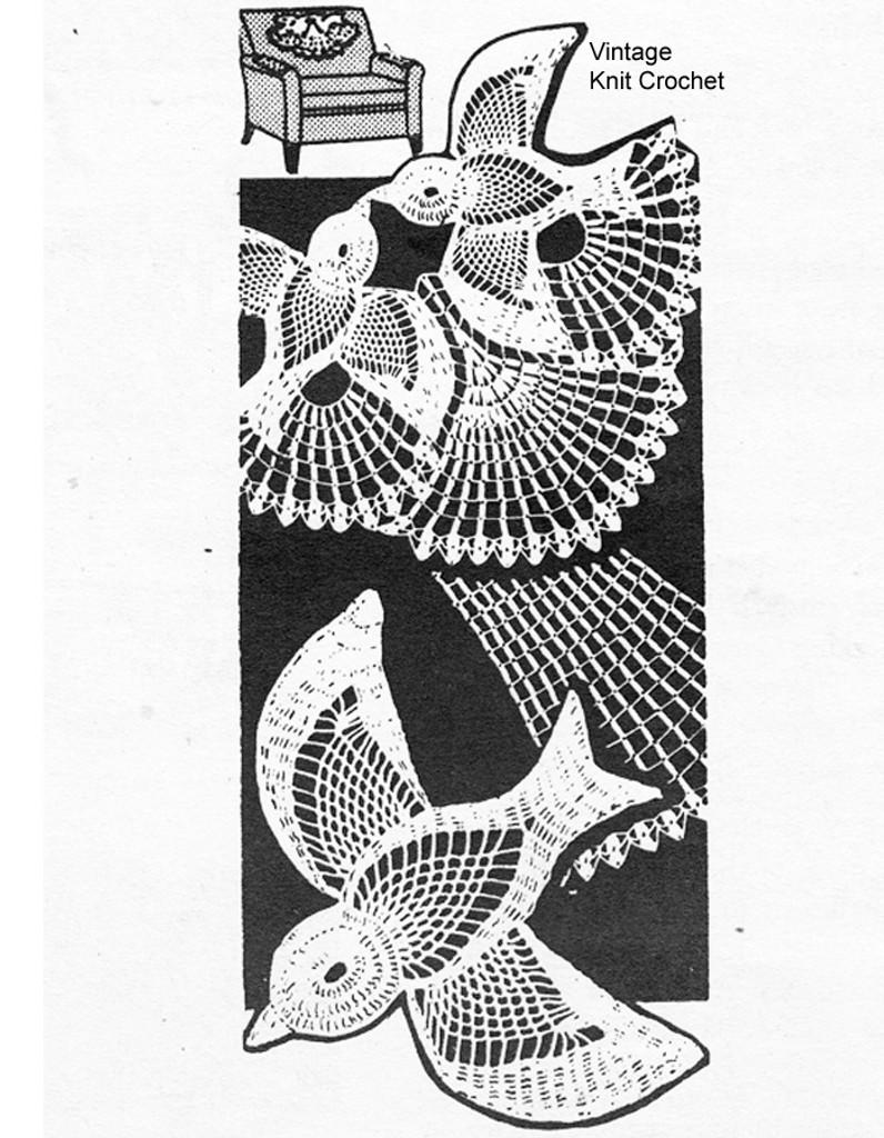Mail Order Lovebirds Crochet Chair Set Pattern, Design 7290