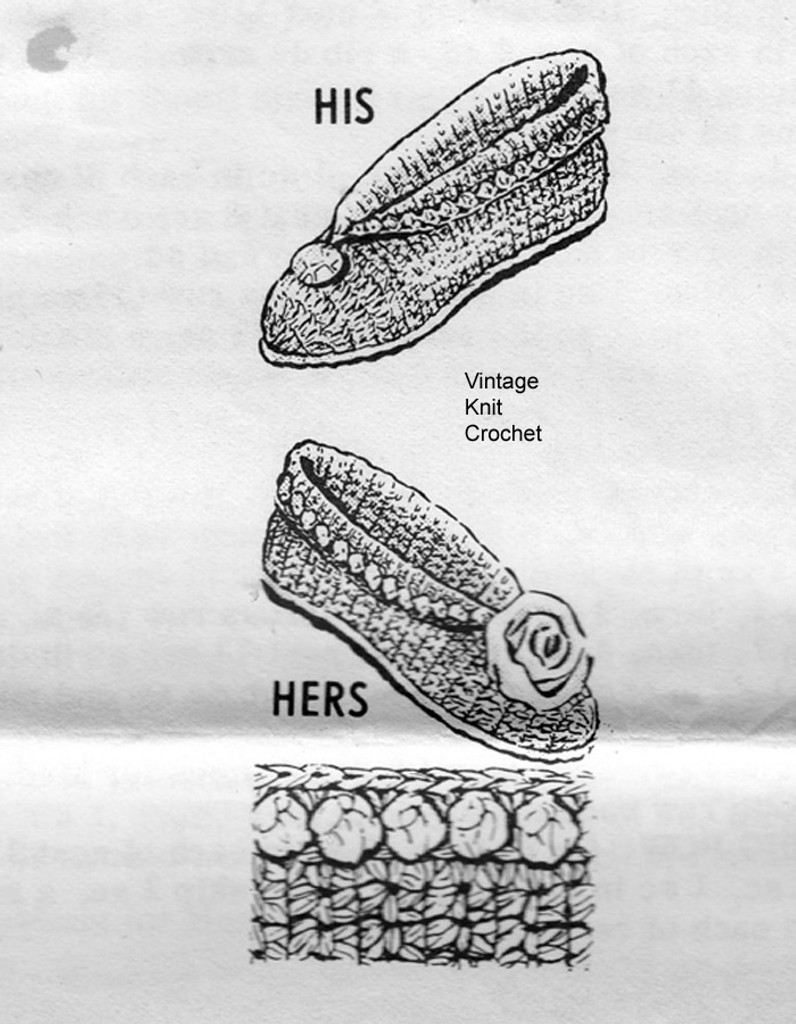 His Hers Crocheted Slippers Pattern, cuffed, Mail Order 811