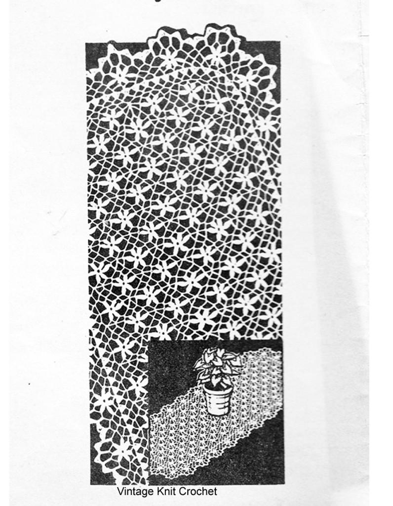 Large Crochet  Runner pattern in Petal Stitch, Alice Brooks 7294