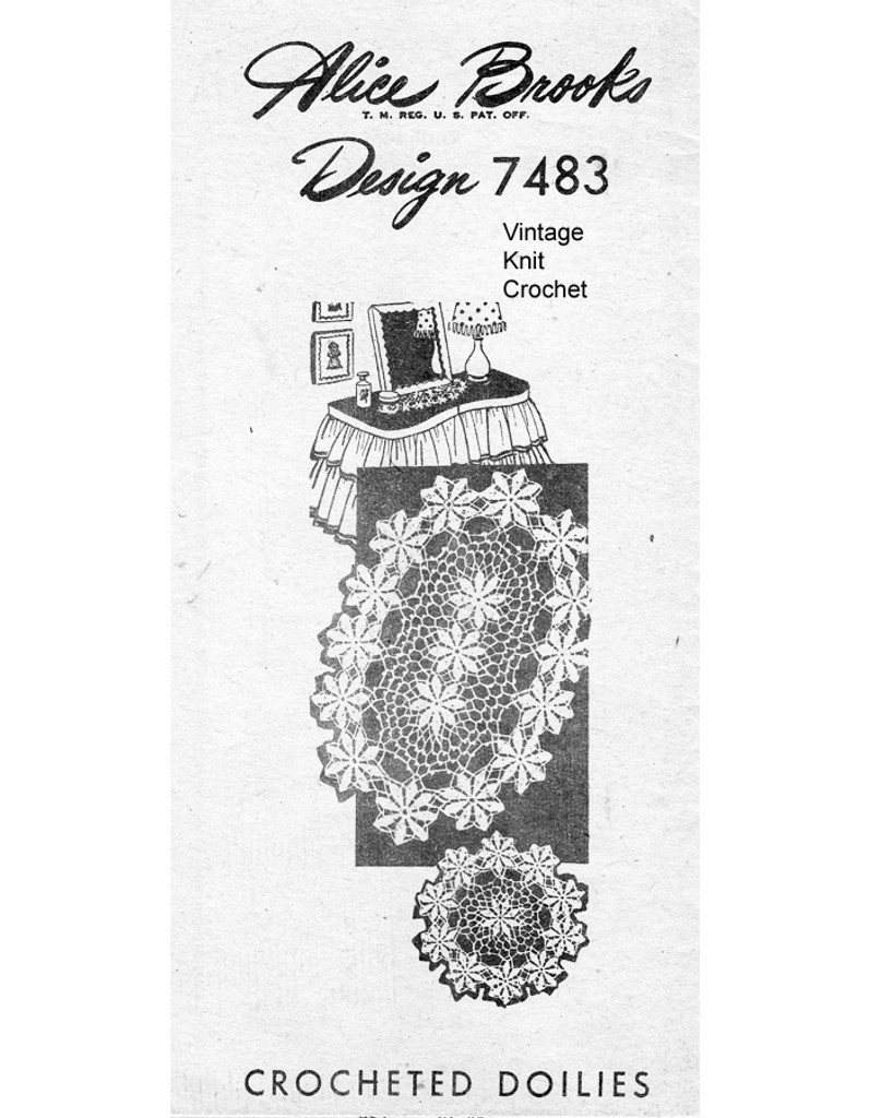 Crocheted Daisy Doily Pattern, Mail Order Design 7483