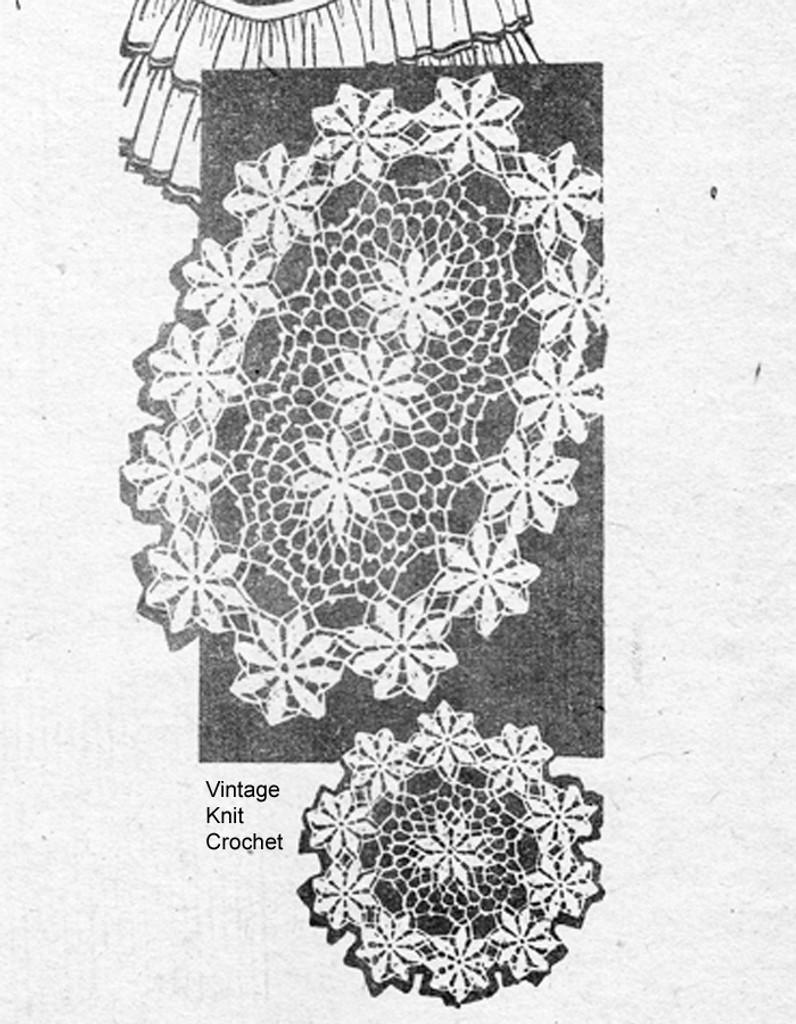 Oval Crochet Daisy Doily Pattern,  Alice Brooks 7483