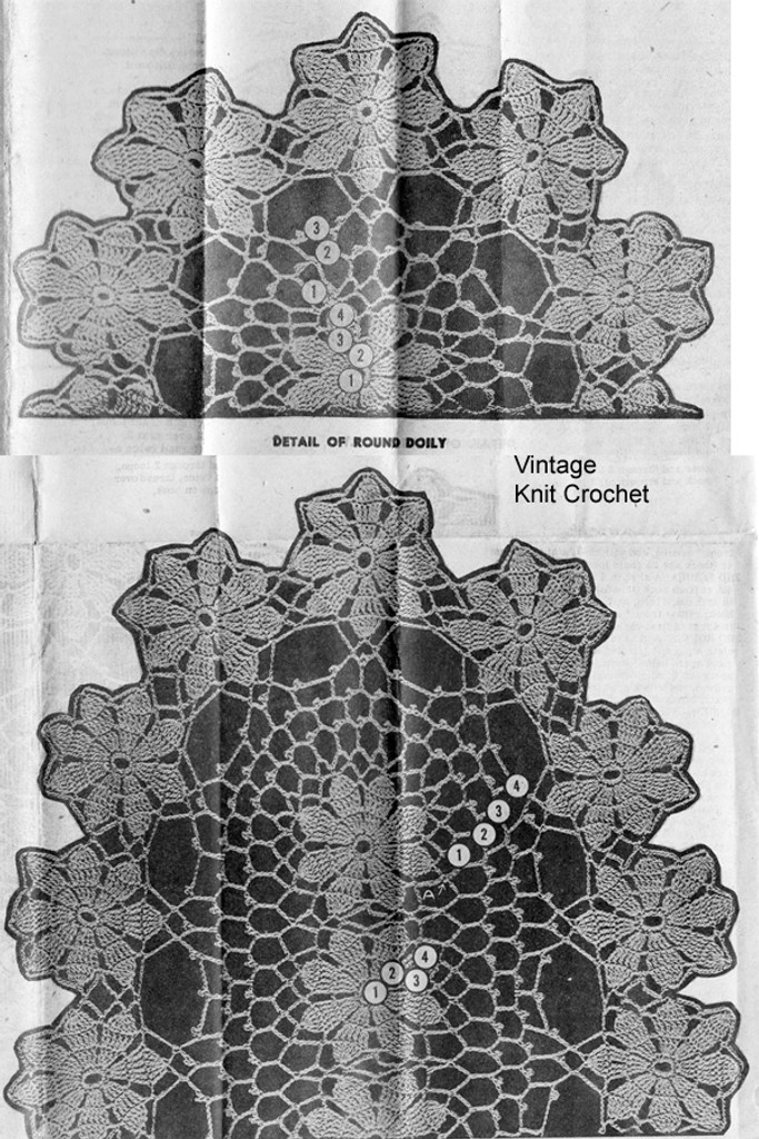 Pattern Stitch Detail of two daisy crochet doilies, Alice Brooks 7483