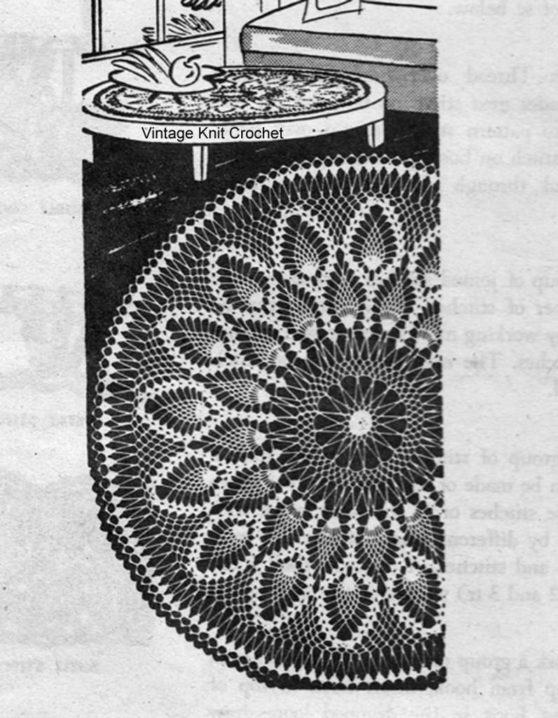 Mail Order Pineapple Crochet Doilies Pattern, Design 7240