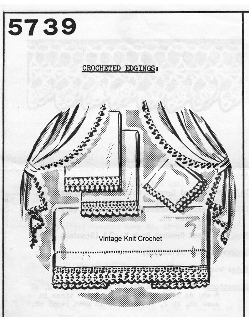 Four Crocheted Edging Pattern, Mail Order 5739
