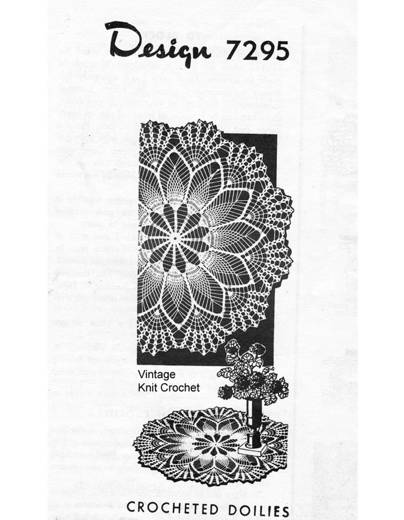 Mail Order Crochet Pineapple Doily Pattern, Shell Border, Design 7295