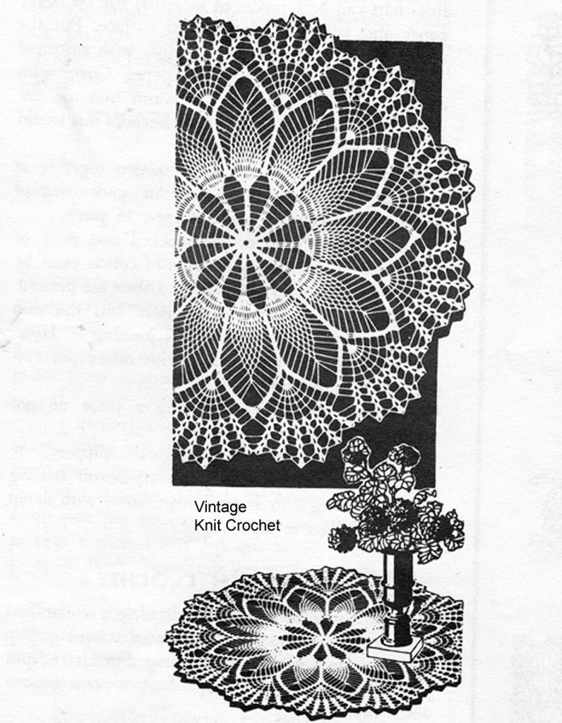Large Crochet Pineapple Doilies Pattern, Alice Brooks 7295