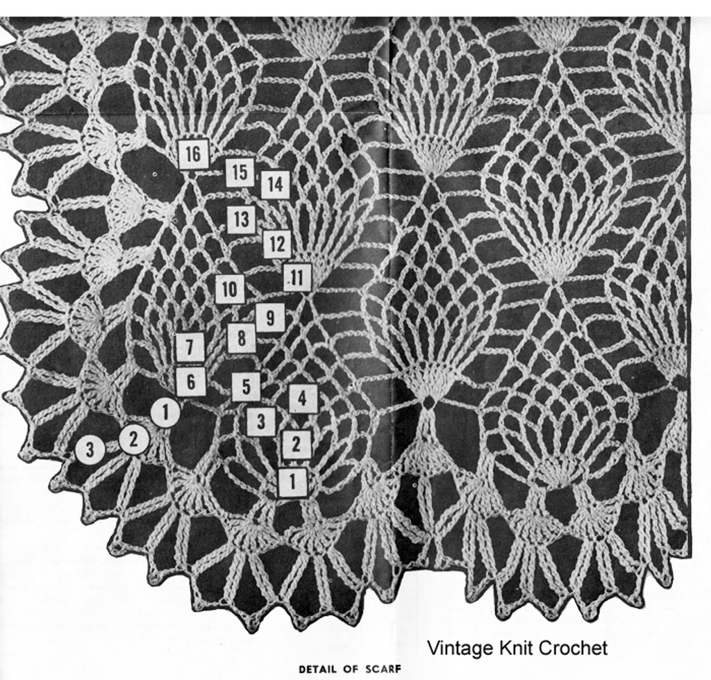 Pineapple Scarf Pattern Stitch Illustration, Design 7171