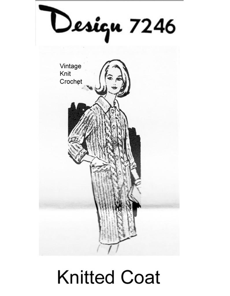 Cable Coat Knitting Pattern, Vintage Alice Brooks 7246