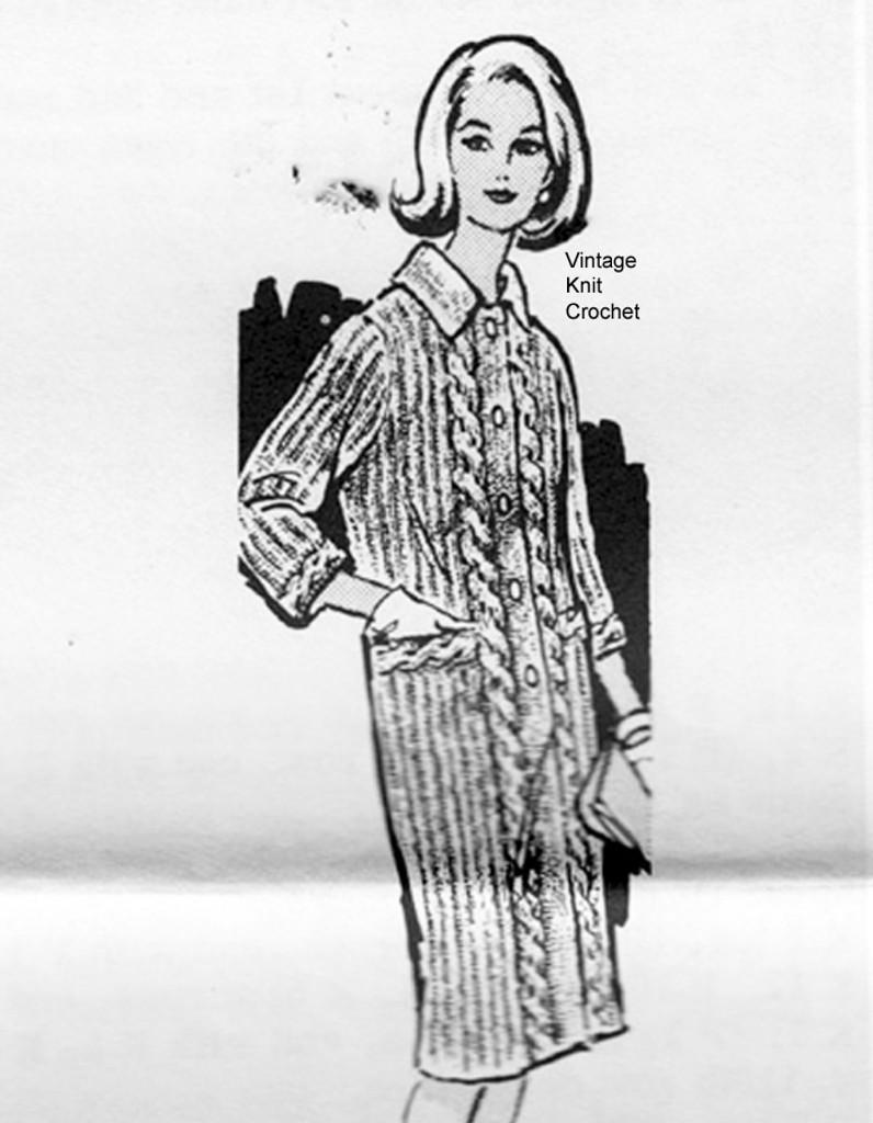 Long Knitted Coat Pattern, Cables, Alice Brooks 7246