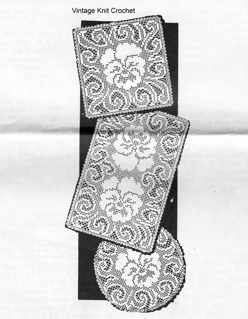 Pansy Filet crochet doilies pattern, Alice Brooks  7046