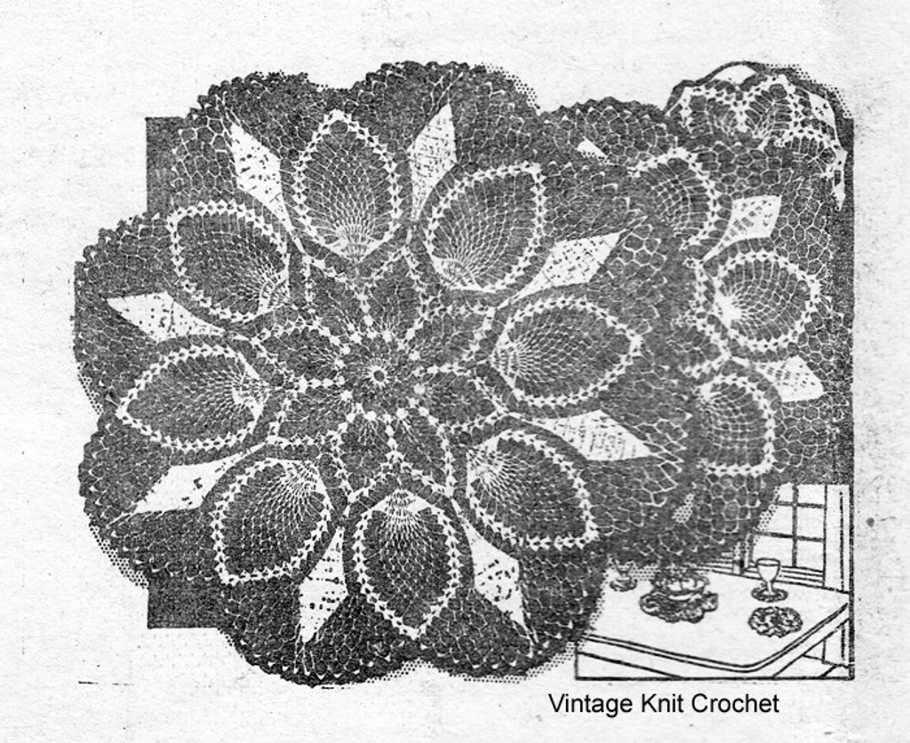 Vintage Crocheted Pineapple Doilies Pattern, Laura Wheeler 809