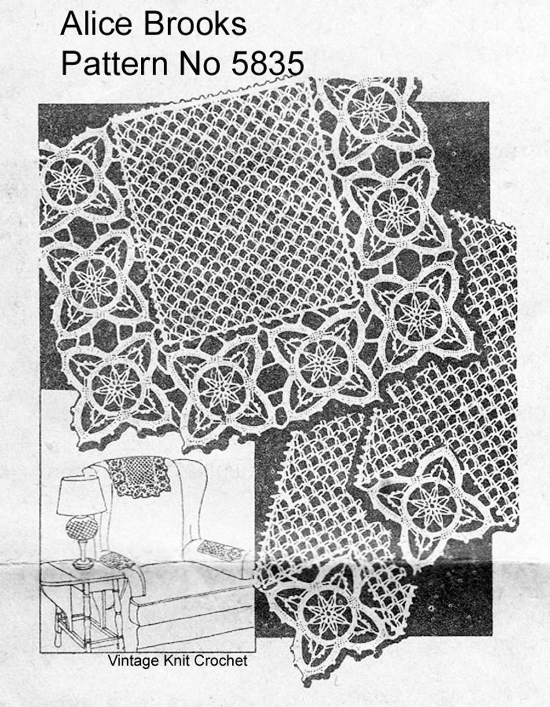 Vintage Crochet Chair Set Pattern, Mesh Flowers, Mail Order 5835
